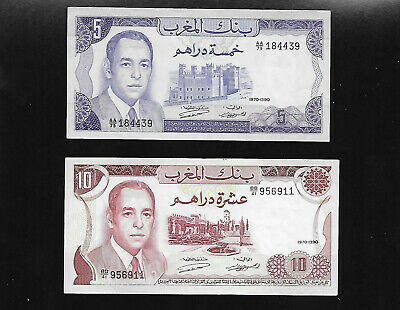 2 note Lot- MOROCCO 5 & 10 Dirhams  aUNC 1970 King Hassan II