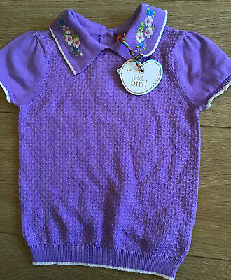 Little Bird By Jools Oliver Lilac Girls Knitted Age 2-3 Years Top 🍄 Bnwt 🍄