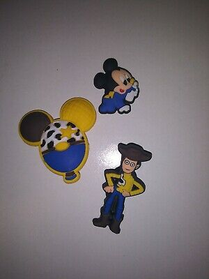 Toy Story/Mickey 3pc Set SHOE CHARMS LOT FOR CROC SHOES or JIBBITZ BRACELET