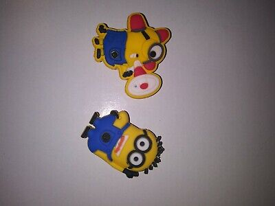 Minions 2pc Set SHOE CHARMS LOT FOR CROC SHOES or JIBBITZ BRACELET