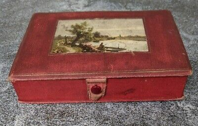 Antique Child's Sewing Box Red 1913 Made in Germany Late Victorian
