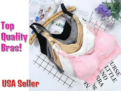 3/4 Pack Nursing Maternity Bra Breastfeeding Wire Free Push Up Women Tank Top US