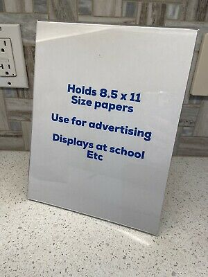 12 Plastic Sign Displays For 8.5 x 11 Sized Papers Table top Advertising
