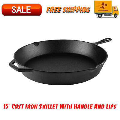 "15"" Cast Iron Skillet With Handle & Lips, Kitchen Home & Outdoors, Cookware"