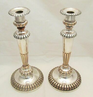 A Tall Antique Pair of Old Sheffield Plate Candlesticks c1820