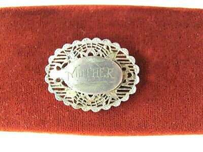 Vintage Antique Silver Oval Victorian Mother Brooch Pin Early 1900's