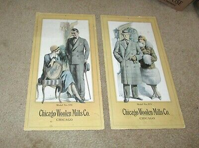 Pair Of Antique Chicago Woolen Mills Co Fashion Prints Flyers Catalog Pages Mens