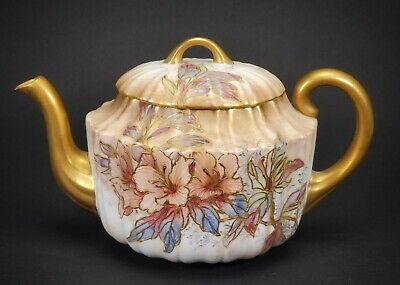 Antique Doulton Burslem Hand Painted Porcelain Teapot