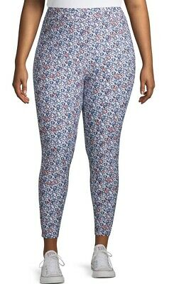 Terra & Sky Sueded Full Length Blue Floral Leggings Size 3X(24-26)..NEW!!!