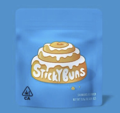 NEW COOKIES STICKY BUNS 3.5G Smell Proof Bags FREE HOLOGRAMS LABEL OPTION
