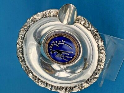 Beautiful enamel centred Scandanavian ashtray 60 Gr Opal silver plated