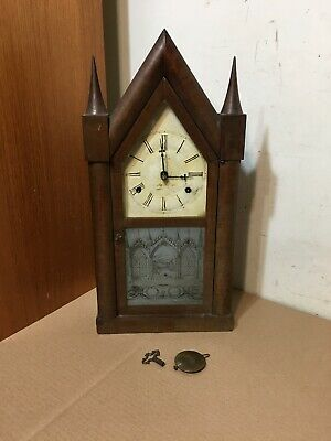 Rare Antique Smith & Goodrich Fusee Movement Steeple Clock