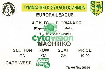 Q1 - Biglietto Ticket Stadio Europa League 2011 - A.E.K. Vs FLORIANA