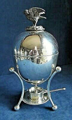 SUPERB Complete ~ SILVER Plated ~ Egg CODDLER Cooker with HEN Finial ~ c1900