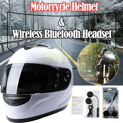 DOT Motorcycle Motorbike Full Face Helmet with Bluetooth Wireless Headset Safety