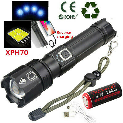 90000LM Zoomable XHP70 LED Super Bright USB Rechargeable 18650 26650 Flashlight