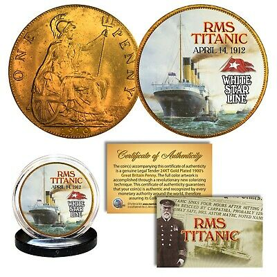 RMS TITANIC April 14 1912 Colorized 1900's Gold Clad Genuine Great Britain Penny