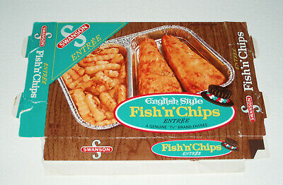 1970's Swanson FISH AND CHIPS TV Dinner box - vintage food package