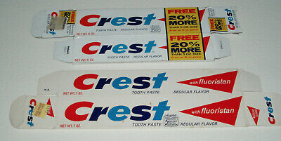 1970's CREST TOOTHPASTE Boxes - vintage  package