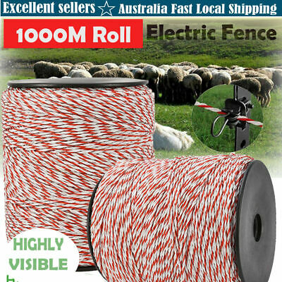 1000M Polywire Roll Electric - Fence Energiser Stainless Poly Wire Insulator AU