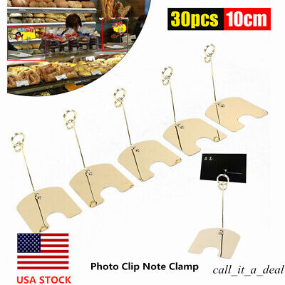30Pcs Memo Card Message Holder Picture Photo Clip Note Clamp Decor w/ Base Iron