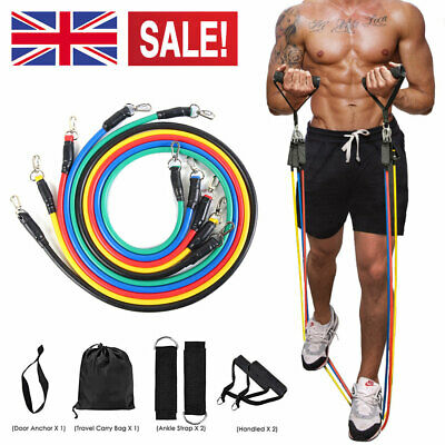 Uk New Resistance Bands Workout Exercise Yoga 11 Piece Crossfit Fitness Tubes