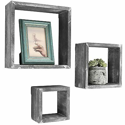 Gray Wall Mounted Wood Shadow Boxes, Square Floating Display Shelves, Set of 3