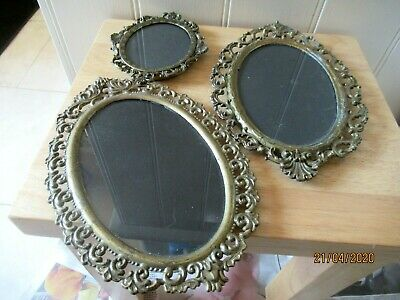 Three Antique / Vintage Ornate Italian Photo Frame With Glass