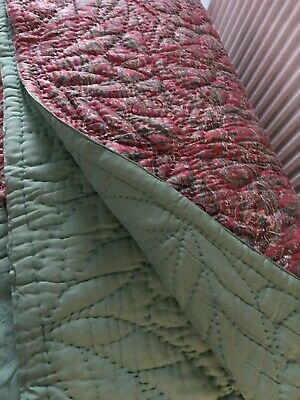 True Vintage Hand Stitched Quilt Green/Pink Paisley