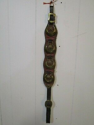 Antique Genuine Leather Horse Tack w/ 4  Brass Ornaments 19th Century