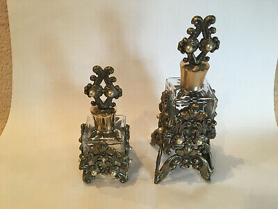 Antique Pair of large Jeweled Perfume Sent Bottles