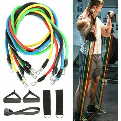 Resistance Bands Set Pull Rope Gym Home Fitness Workout Crossfit Yoga Tube 11pcs