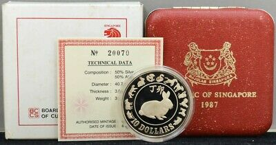 1987 Republic of Singapore $10 Year Of The Rabbit Silver Proof Coin DC-3316