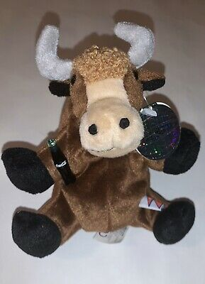 "1999 Coca Cola Plush Bull Holding A Coke Bottle  Beanie Stuffed Animal 6"" Yak"