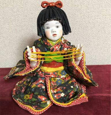 Japanese tradition antique Handmade paper clay doll Kimono Japanese paper m