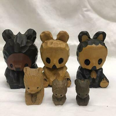 Japanese tradition antique Vintage Wooden bear ornament 6-piece set from japan m