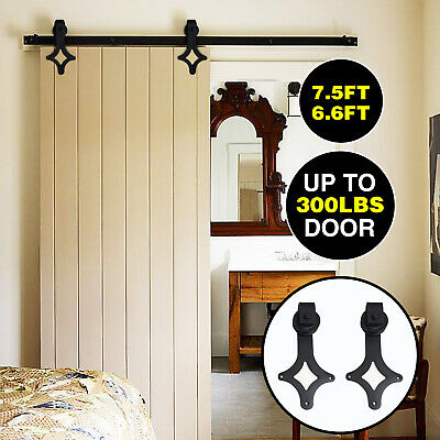 6.6FT Arrow Steel Modern Sliding Door Track Barn Wood Kit Closet Hardware Set