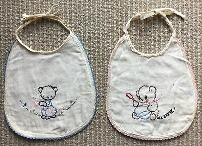 2 Vintage Embroidered Baby Bibs w/ Teddy Bears