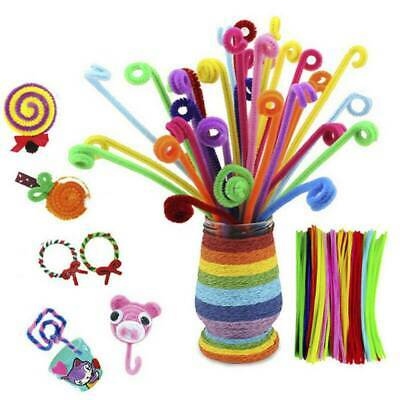100 Pipe Chenille Sticks Cleaners Stems Assorted Plain&Fluffy Pompoms&Toy Eyes-