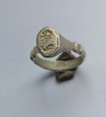 Very Rare Ancient Roman Silver Seal Ring With A Serpent