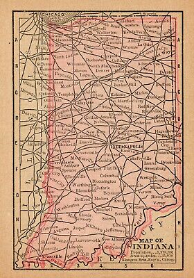 1888 Antique INDIANA Map RARE MINIATURE Vintage Indiana State Map 7239