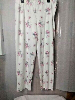 Charter Club Intimates Womens Lounge Pants White Floral Pajama Bottoms L New