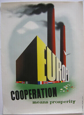 Orig Plakat Cooperation means Properity Louis Emmerick 1947 Offset