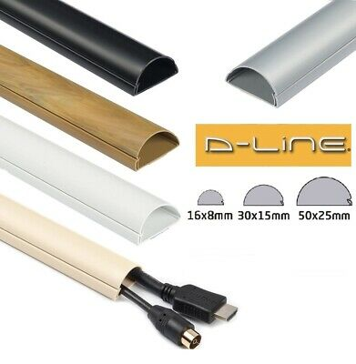 D-Line Self Adhesive Trunking Cable Management Tidy Hide PVC Dline Cover Conduit