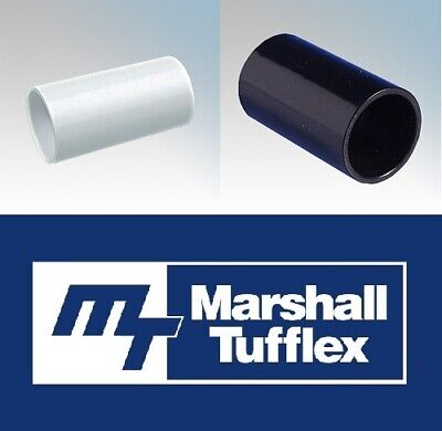 Marshall Tufflex PVC Conduit Round Coupler Connector Black White 20mm 25mm