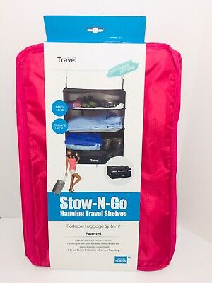 New Travel Fusion Stow-N-Go Portable Luggage System Hanging Travel Shelve pink @