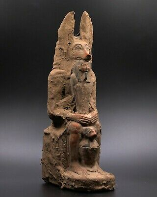 RARE EGYPTIAN ANTIQUES ANUBIS EGYPT God Deity Dog Sit STATUE STONE 3150 BC