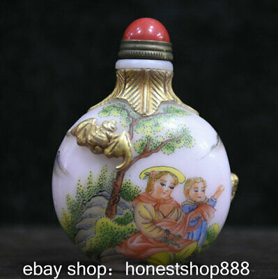 7cm Rare Old Chinese Colored Glaze Painted Gild Mother and Son Bat Snuff Bottle
