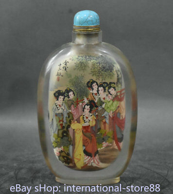 """7.6"""" Old China Glass Inner Painting Dynasty Palace Prelude 12 Belle Snuff Bottle"""