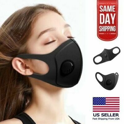PM2.5 Black Face Mask With Breathing Valve Filter (Washable Durable & Reusable)